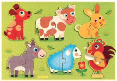 Развивающая игрушка Djeco Рамка-вкладыш. Животные на лугу / 01259