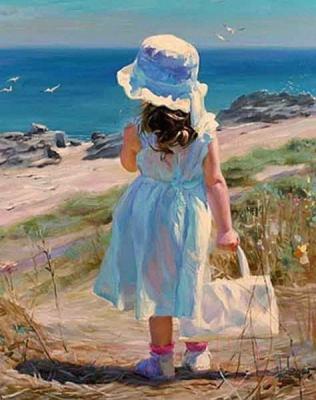 Набор алмазной вышивки Алмазная живопись Девочка у моря / АЖ-1118