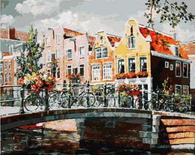 Картина по номерам БЕЛОСНЕЖКА Амстердам. Мост через канал / 119-AB
