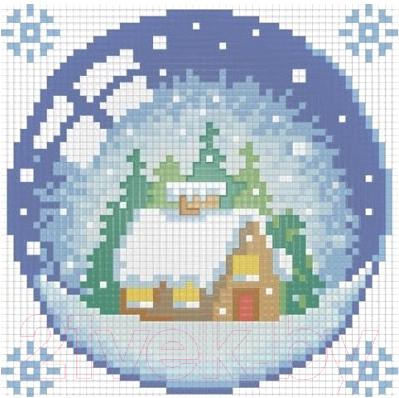 Набор алмазной вышивки Алмазная живопись Новогодний шарик с домиком / АЖ-1254