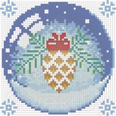 Набор алмазной вышивки Алмазная живопись Новогодний шарик с шишкой / АЖ-1256