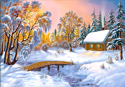Набор алмазной вышивки Алмазная живопись Избушка в зимнем лесу / АЖ-1283