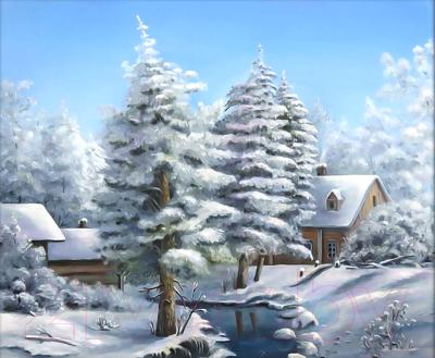 Набор алмазной вышивки Алмазная живопись Морозный пейзаж / АЖ-1285