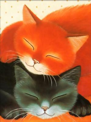 Набор алмазной вышивки Алмазная живопись Спящие коты / АЖ-1306