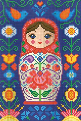 Набор алмазной вышивки Алмазная живопись Матрешка в цветах / АЖ-1324