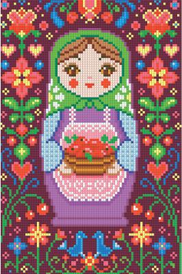 Набор алмазной вышивки Алмазная живопись Матрешка с яблоками / АЖ-1325
