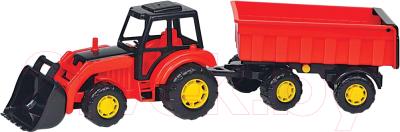 Трактор игрушечный Полесье Мастер №1 с прицепом и ковшом / 35264