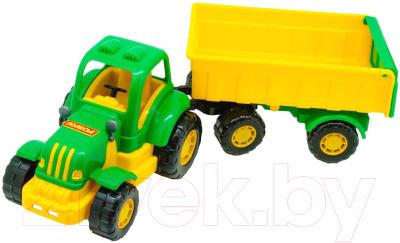 Трактор игрушечный Полесье Крепыш №1 с прицепом и ковшом / 44556