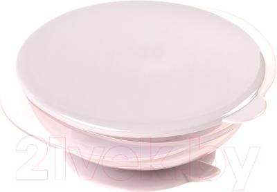 Тарелка для кормления Happy Baby 15002 на присоске с крышкой