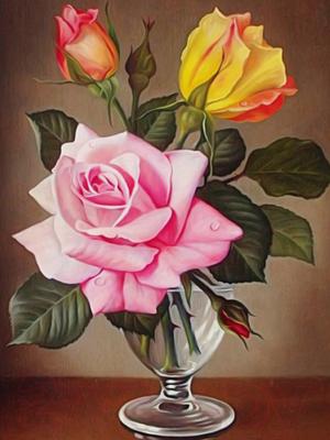 Набор алмазной вышивки Алмазная живопись Розы в фужере / АЖ-1513