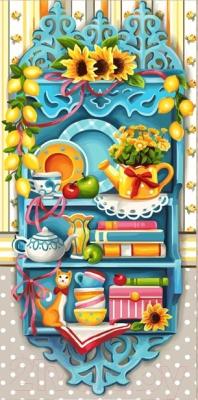Набор алмазной вышивки Алмазная живопись Полочка с лимонами / АЖ-1584