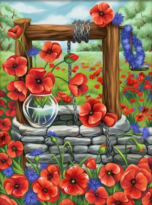 Набор алмазной вышивки Алмазная живопись Маковое поле / АЖ-1625