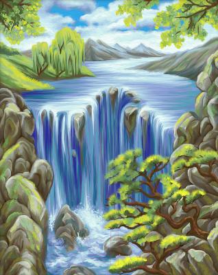 Набор алмазной вышивки Алмазная живопись Водопад среди скал / АЖ-1643