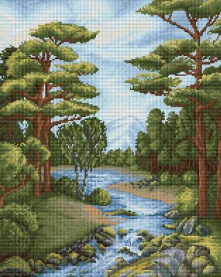 Набор алмазной вышивки Алмазная живопись Лесной ручей / АЖ-1652