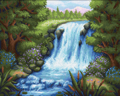 Набор алмазной вышивки Алмазная живопись Тихий водопад / АЖ-1654