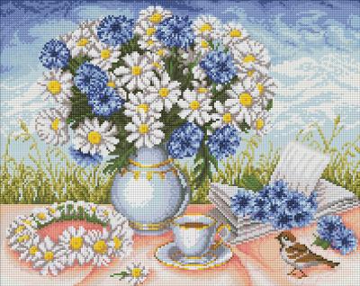 Набор алмазной вышивки Алмазная живопись Букет ромашек / АЖ-1656