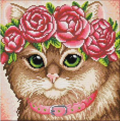 Набор алмазной вышивки Алмазная живопись Кошка в веночке / АЖ-1659