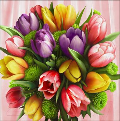 Набор алмазной вышивки Алмазная живопись Букет тюльпанов / АЖ-1705
