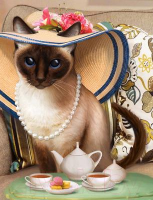 Набор алмазной вышивки Алмазная живопись Чаепитие у кошки / АЖ-1729