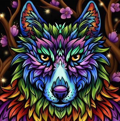 Набор алмазной вышивки Алмазная живопись Радужный волк / АЖ-1754