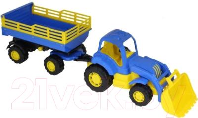 Трактор игрушечный Полесье Крепыш №2 с прицепом и ковшом / 44808