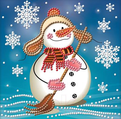 Набор алмазной вышивки Алмазная живопись Снеговик с метлой / АЖ-3012