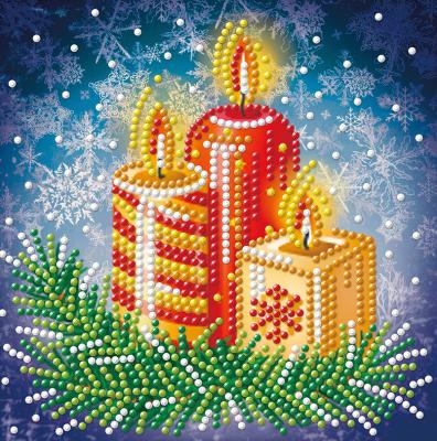 Набор алмазной вышивки Алмазная живопись Новогодние свечи / АЖ-3014