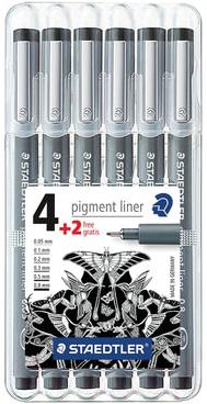 Набор шариковых ручек Staedtler Пигмент Лайнер 308 SB6P