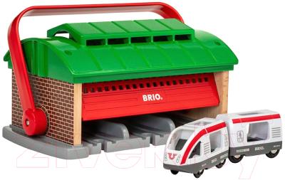 Аксессуар для железной дороги Brio Депо-переноска с поездом и вагоном / 33474