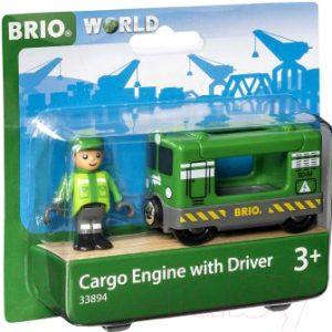 Элемент железной дороги Brio Грузовой вагон с машинистом 33894
