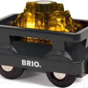 Элемент железной дороги Brio Вагончик с светящимся грузом золота / 33896