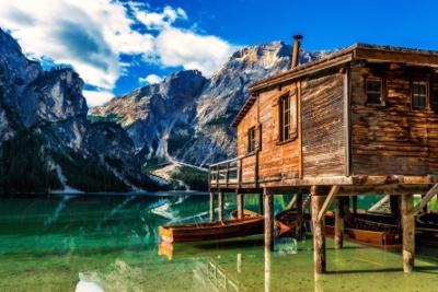 Набор для творчества РЫЖИЙ КОТ Холст с красками. Домик у озера в горах / Х-3558