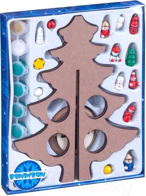 Набор для творчества Bondibon Новогодняя елочка-раскраска с игрушками / ВВ3732