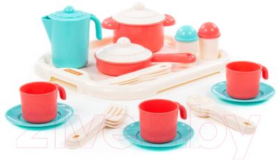 Набор игрушечной посуды Полесье Настенька с подносом на 3 персоны / 3957