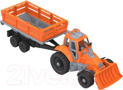 Трактор игрушечный Нордпласт С грейдером и прицепом / 397