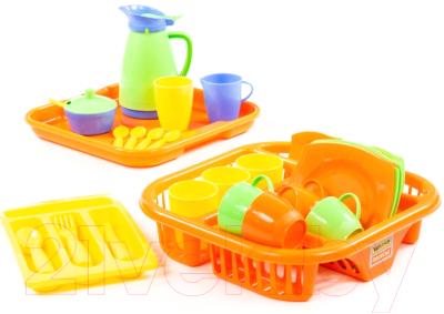 Набор игрушечной посуды Полесье Алиса с сушилкой