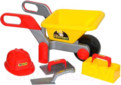 Тачка игрушечная Полесье Детская тачка №4 Construct с набором каменщика №3 / 50212