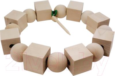 Развивающая игрушка RNToys Бусы геометрические неокрашенные / Д-538