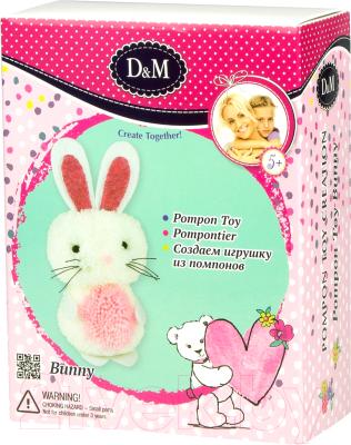 Набор для шитья Делай с мамой Шьем игрушку из помпонов Зайка / 67826