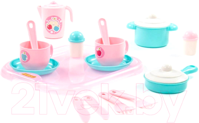 Набор игрушечной посуды Полесье Хозяюшка с подносом / 80462