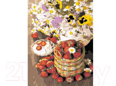 Набор для творчества РЫЖИЙ КОТ Холст с красками. Цветы и корзина с ягодами / Х-9154
