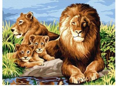Картина по номерам Azart Львиная семья / AZ3040GK-09