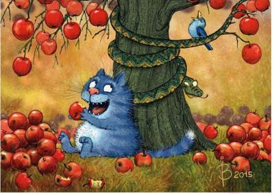 Набор алмазной вышивки Darvish Кот под яблочным деревом / DV-11513-3