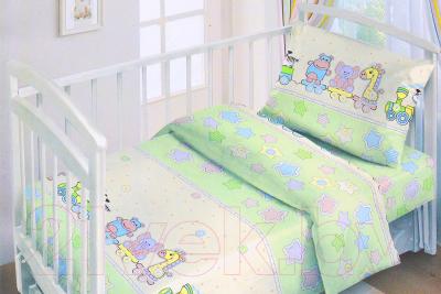 Комплект постельный в кроватку Fun Ecotex Веселый паровозик / FE 10055