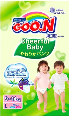 Подгузники-трусики детские Goo.N Сheerful Baby L