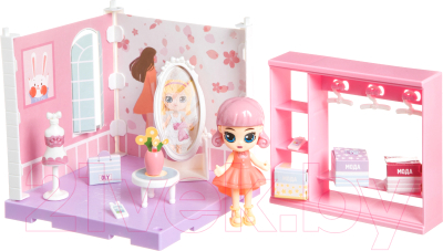 Комплект аксессуаров для кукольного домика Bondibon Кукольный уголок и куколка Oly. Гардеробная / ВВ4493