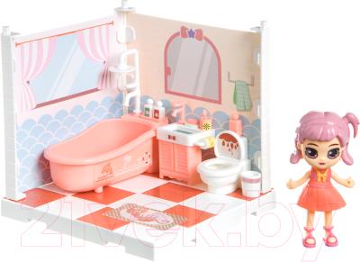 Комплект аксессуаров для кукольного домика Bondibon Кукольный уголок и куколка Oly. Ванная комната / ВВ4495