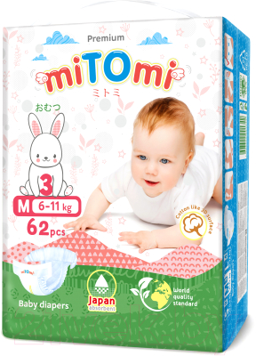 Подгузники детские MiTomi Premium M от 6 до 11кг