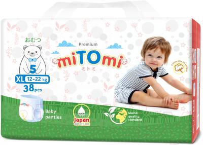 Подгузники-трусики детские MiTomi Premium XL от 12 до 22кг
