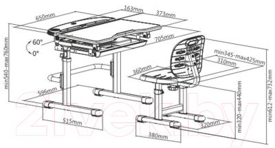 Парта+стул Растущая мебель Smart C304S